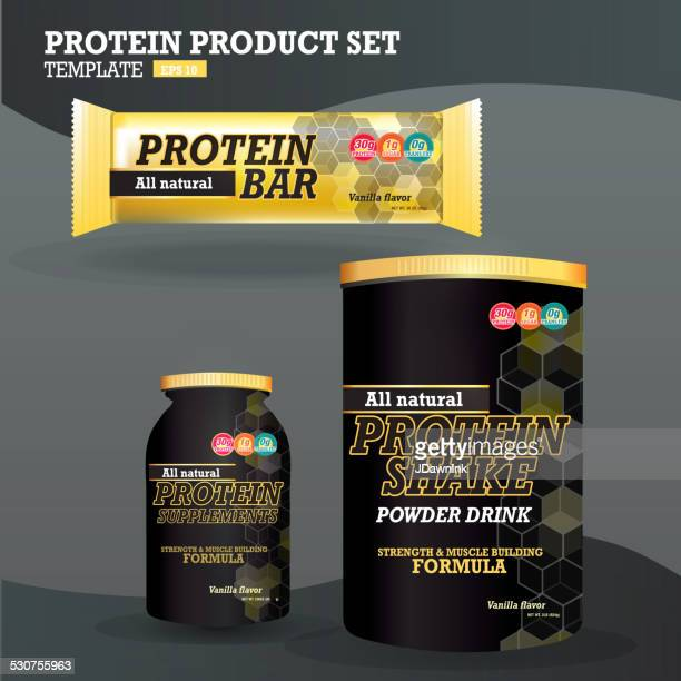 set of protein supplements packaging designs - protein stock illustrations