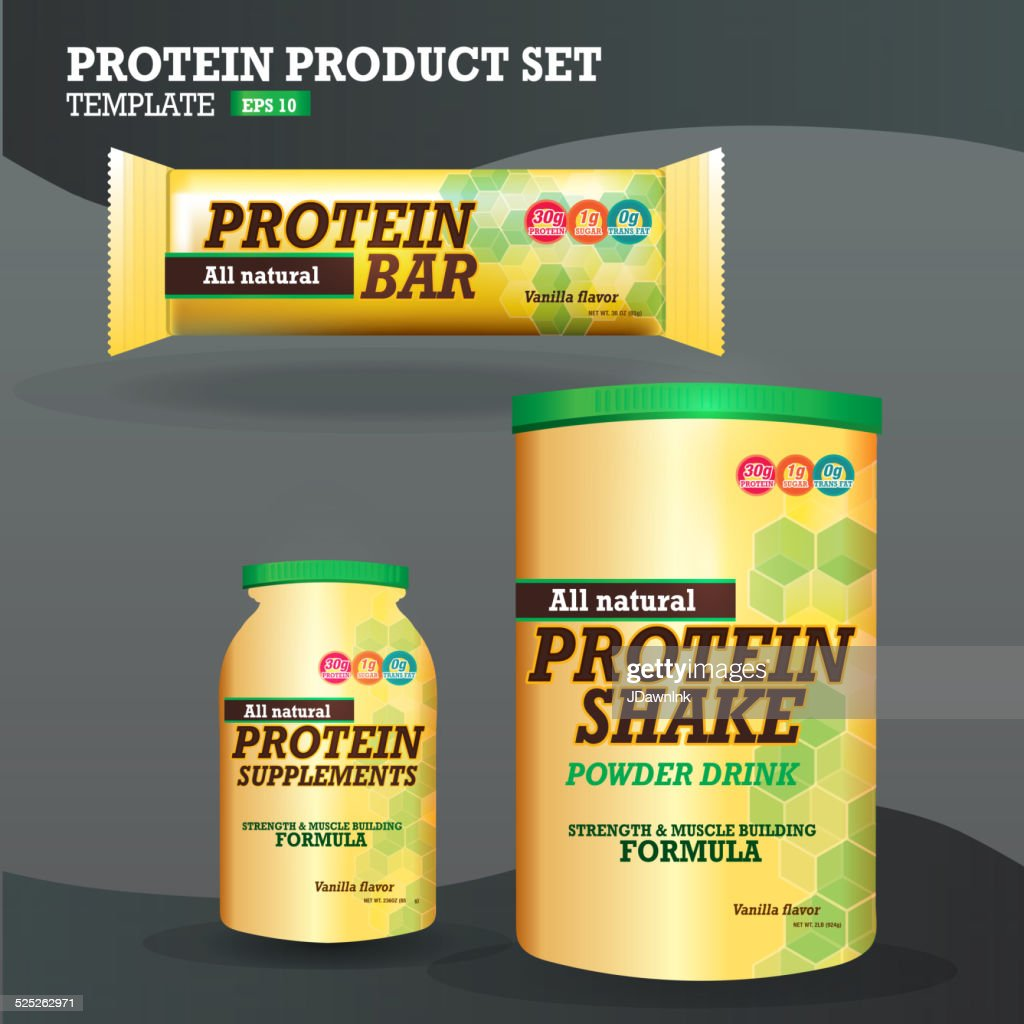 Set of protein supplements packaging designs yellow and green