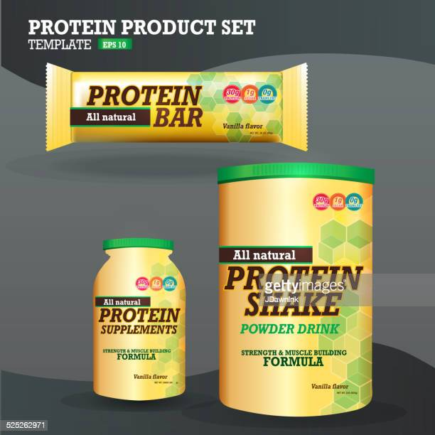 set of protein supplements packaging designs yellow and green - protein drink stock illustrations