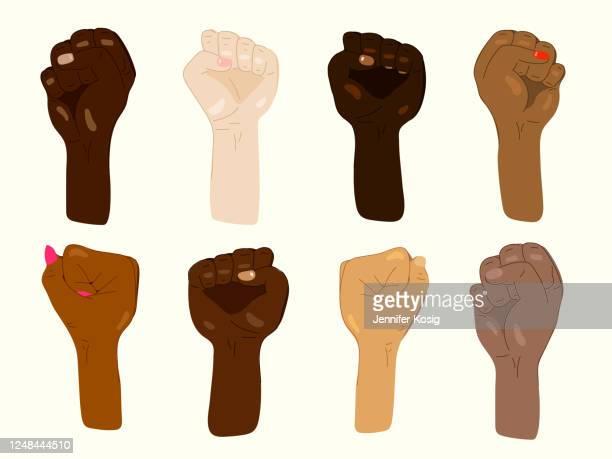 混合肌の色の抗議の手のセット - 活動家点のイラスト素材/クリップアート素材/マンガ素材/アイコン素材