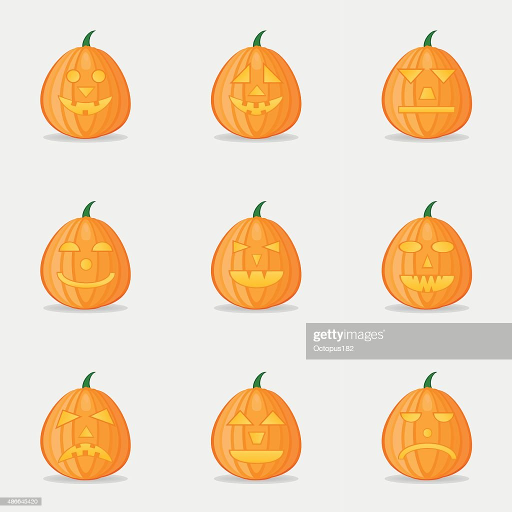 Set of pumpkins for Halloween with different facial expressions