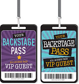 Set of purple blue and yellow Backstage Pass template designs