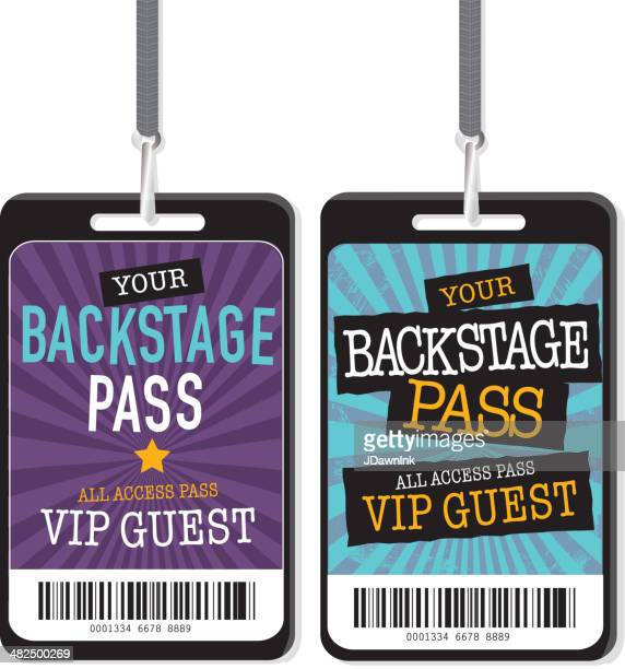 set of purple blue and yellow backstage pass template designs - ticket stock illustrations, clip art, cartoons, & icons
