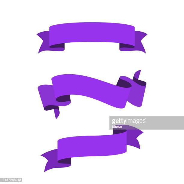 Set of Purple Ribbons, Banners - Design Elements on white background