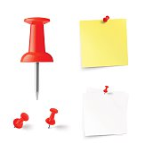Set of push pins and paper stick. Vector illustration