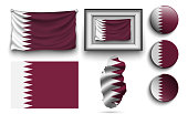 set of qatar flags collection isolated on white