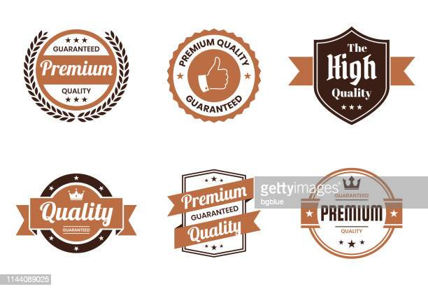 "illustrazioni stock, clip art, cartoni animati e icone di tendenza di set of ""quality"" brown badges and labels - design elements - affidabilità"