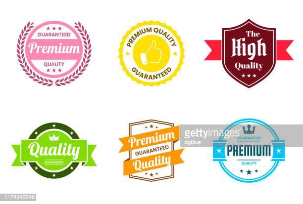 """stockillustraties, clipart, cartoons en iconen met set van """"kwaliteit"""" kleurrijke badges en etiketten-design elementen - kwaliteit"""
