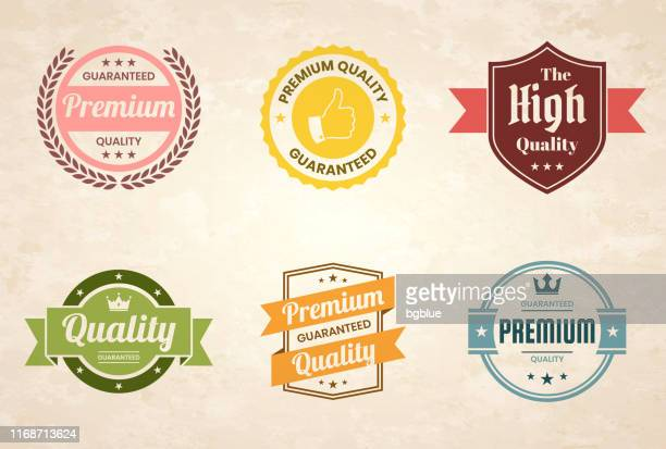 "illustrazioni stock, clip art, cartoni animati e icone di tendenza di set of ""quality"" colorful vintage badges and labels - design elements - affidabilità"