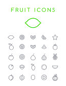 Set of Quality Isolated Universal Standard Minimal Simple Black Thin Line Fruit Icons on White Background