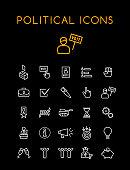 Set of Quality Isolated Universal Standard Minimal Simple Politics WhiteThin Line Icons on Black Background