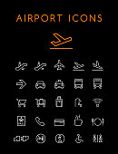 Set of Quality Universal Standard Minimal Simple Airport White Thin Line Icons on Black Background