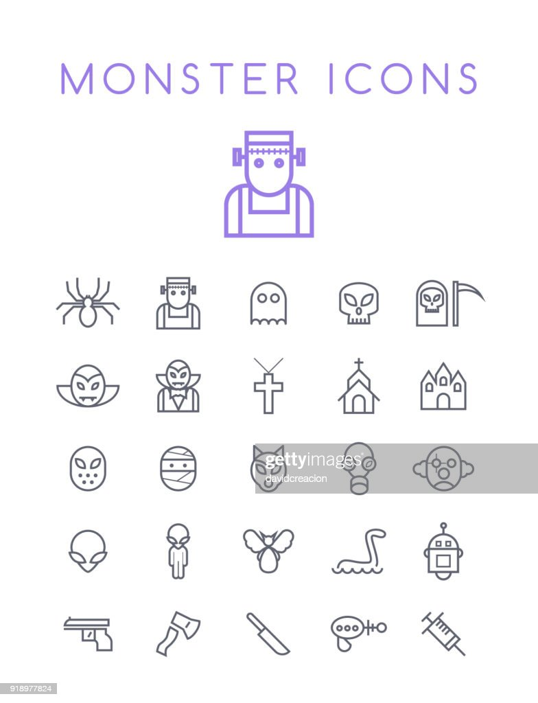 Set of Quality Universal Standard Minimal Simple Monsters Black Thin Line Icons on White Background