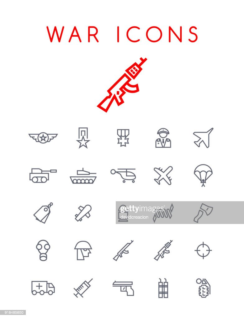 Set of Quality Universal Standard Minimal Simple War Black Thin Line Icons on White Background