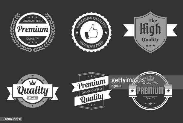 "illustrazioni stock, clip art, cartoni animati e icone di tendenza di set of ""quality"" white badges and labels - design elements - affidabilità"