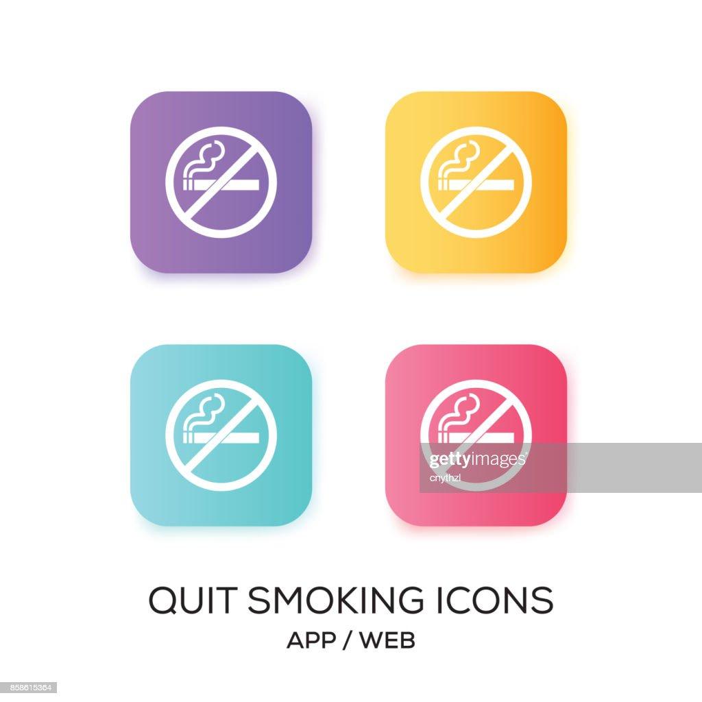 Raucherentwöhnung-App-Icon-Set : Stock-Illustration