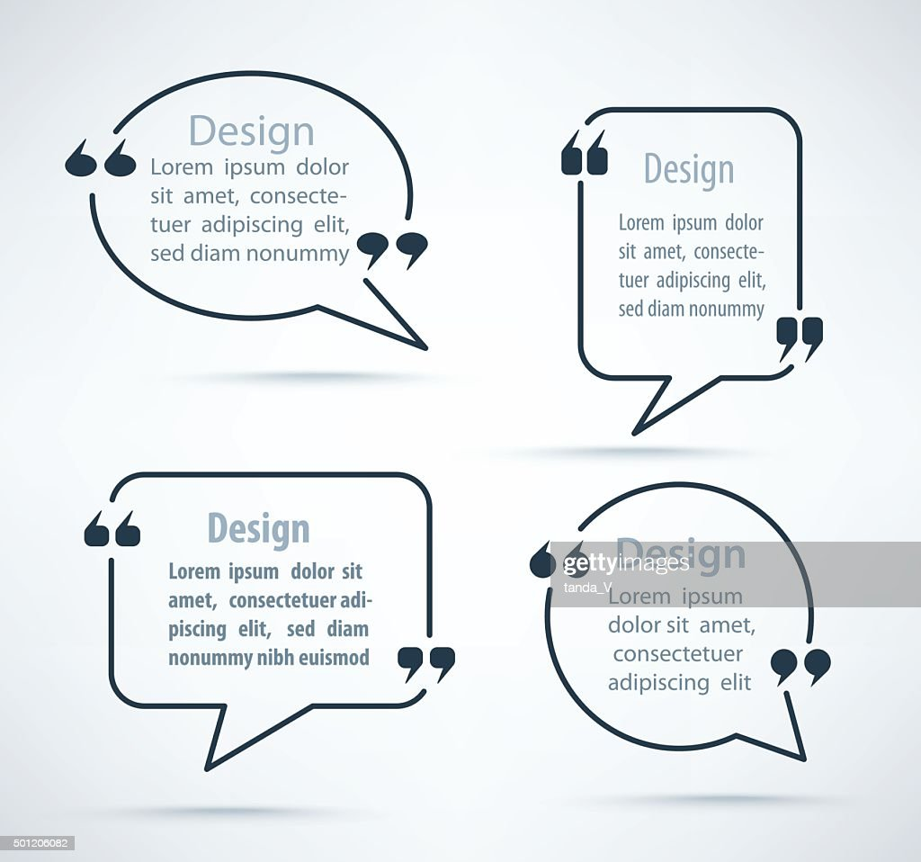Set of Quote bubbles and templates. Quote form.