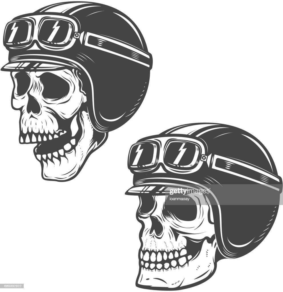 Set of racer skulls isolated on white background. Design elements for label, emblem, poster, t-shirt. Vector illustration.