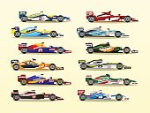 Set of racing bolid. A collection of sports cars. Quick transport. Powerful engine. Aerodynamic body. Stickers, labels. Side view, isolated on background.