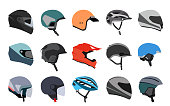 Set of racing helmets on a white background.