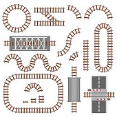 Set of railway parts, rail or railroad top view. Different train constructions elements. Train transportation track made of steel and wood, rail wavy or curvy, straight connections. Vector