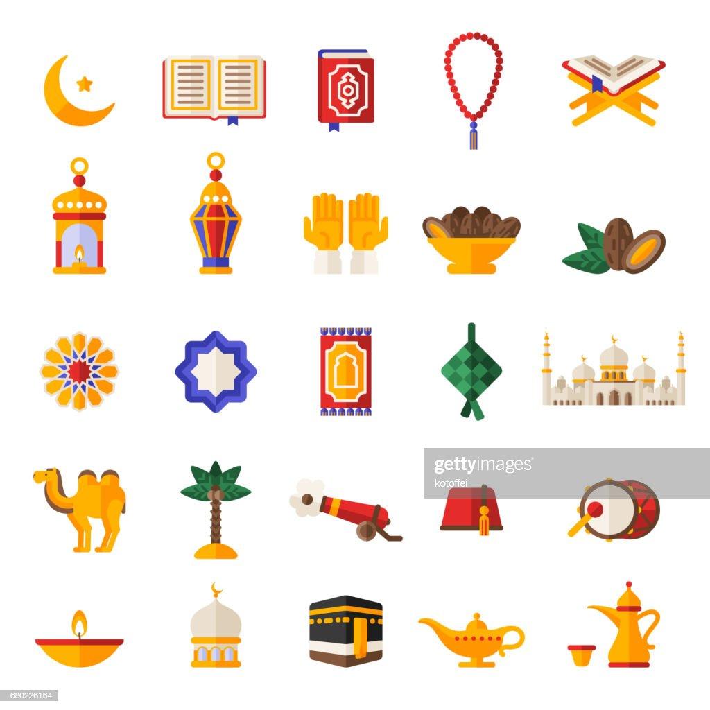 Set of Ramadan Kareem Icons Isolated on White