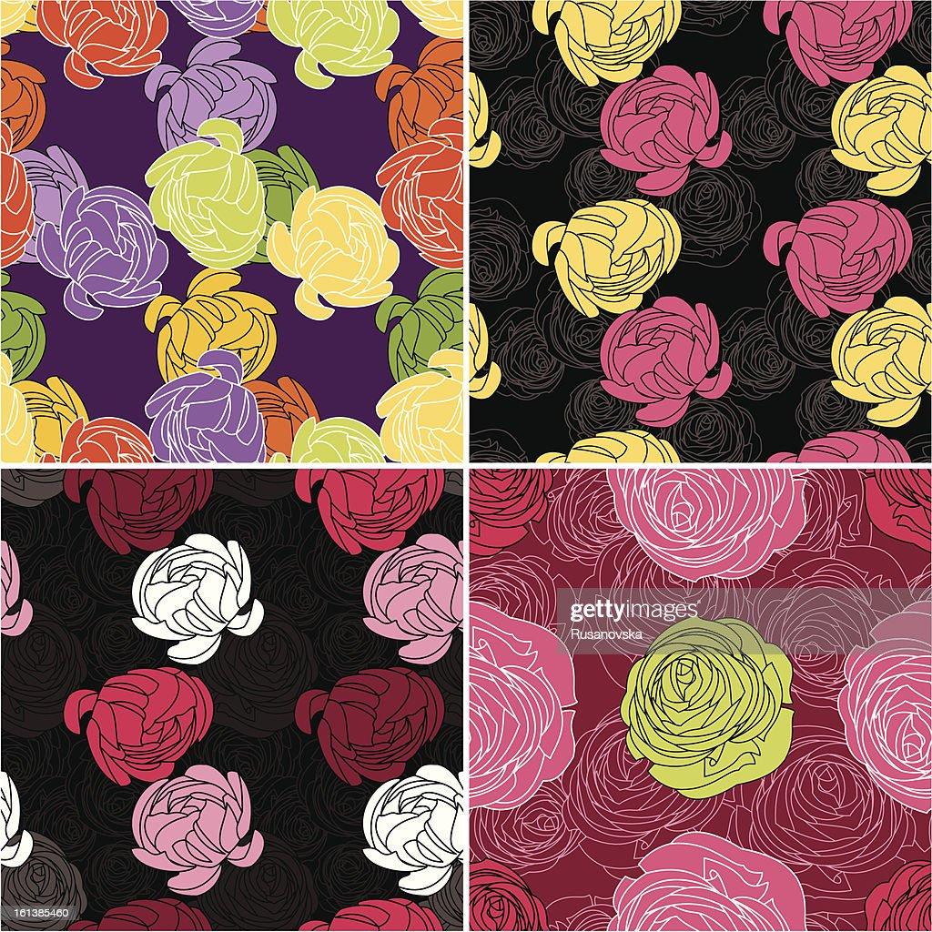 Set of Ranunculus Pattern : stock illustration