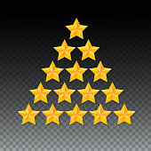 Set of rating stars. Gold five-pointed in the shape