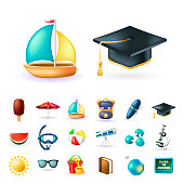 Set of Real Cute Beach and Education Elements on White Background . Isolated Vector Illustration