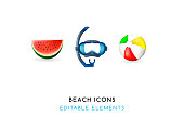 Set of Real Cute Beach Elements on White Background . Isolated Vector Illustration