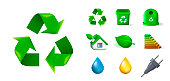 Set of Real Cute Ecology Elements on White Background . Isolated Vector Illustration