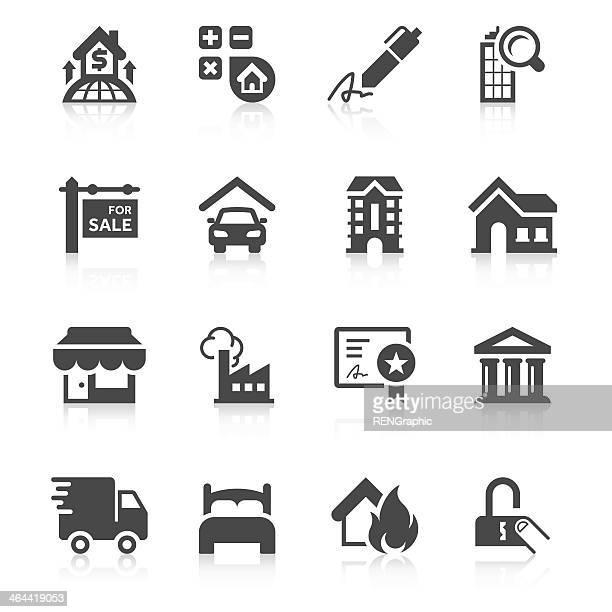 illustrations, cliparts, dessins animés et icônes de immobilier icône, série unique ensemble - déménagement