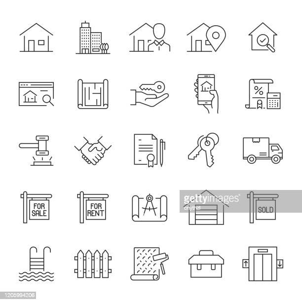 set of real estate related line icons. editable stroke. simple outline icons. - relocation stock illustrations