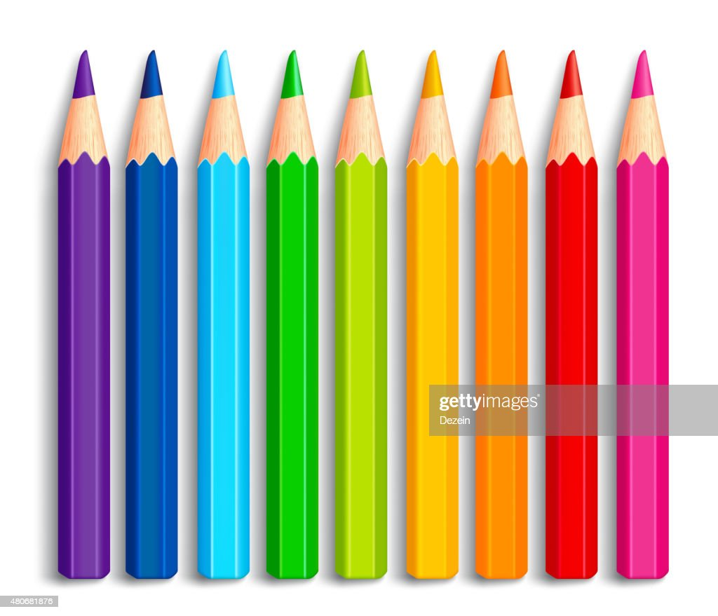 Set of Realistic 3D Multicolor Colored Pencils or Crayons