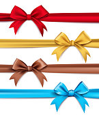 Set of Realistic 3D Silk or Satin Ribbons and Bow