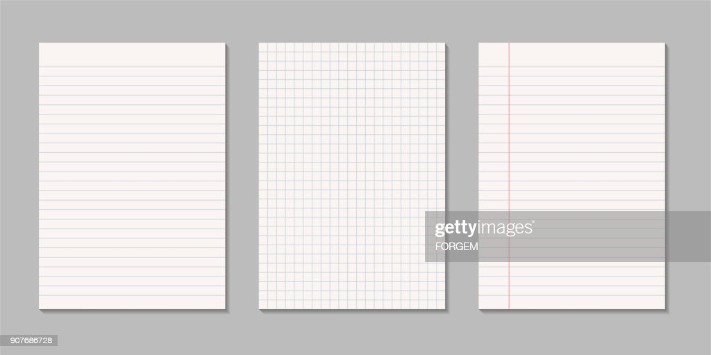 Set of realistic blank sheets of square and lined paper - vector isolated on gray background