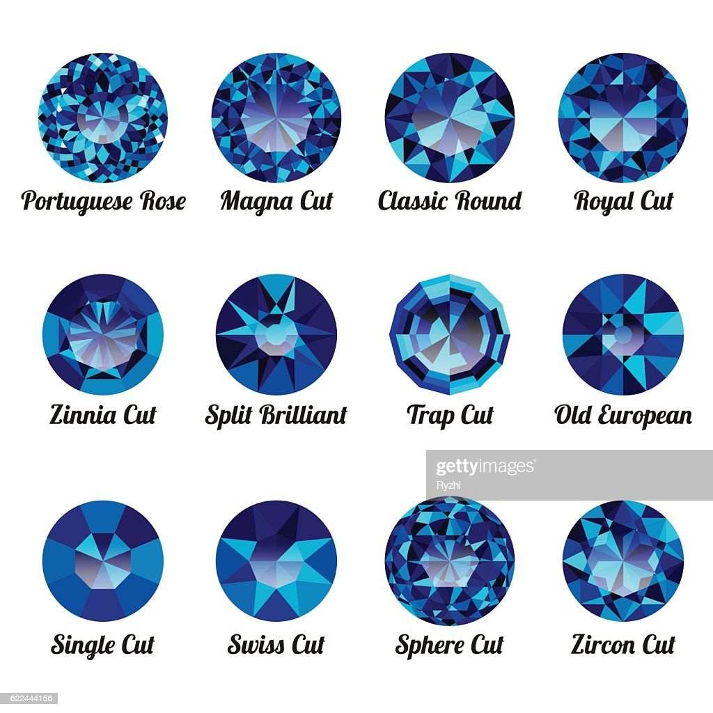 Set of realistic blue amethysts with round cuts