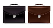 Set of Realistic Briefcase for Business Isolated