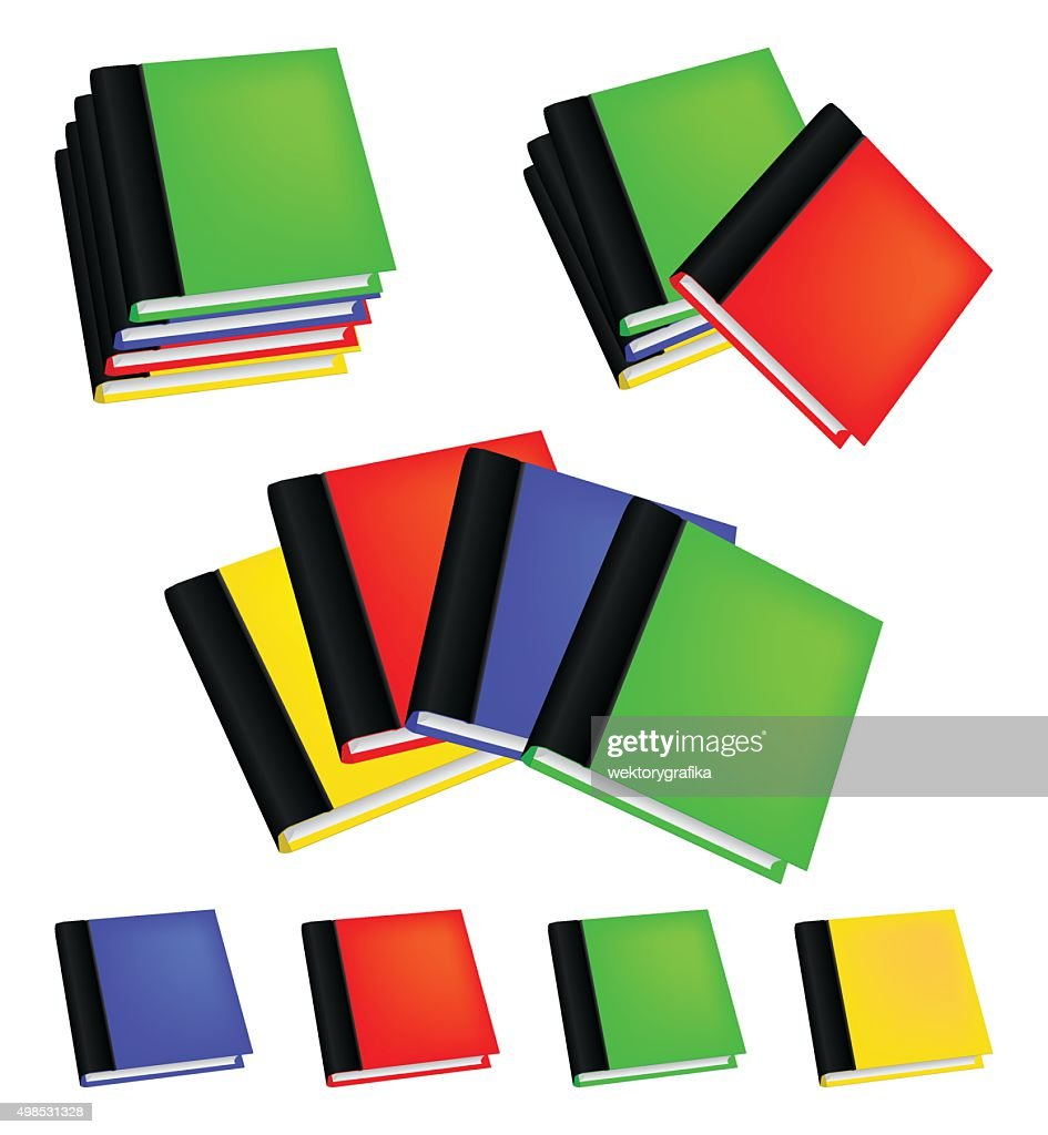 Set of realistic colored books with empty covers.