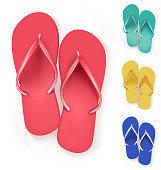 Set of Realistic Colorful Flip Flops Beach Slippers