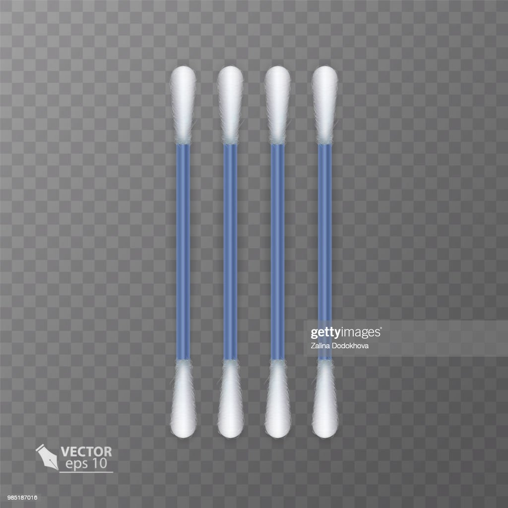 Set of realistic cotton buds. Cotton swabs for ears. Vector