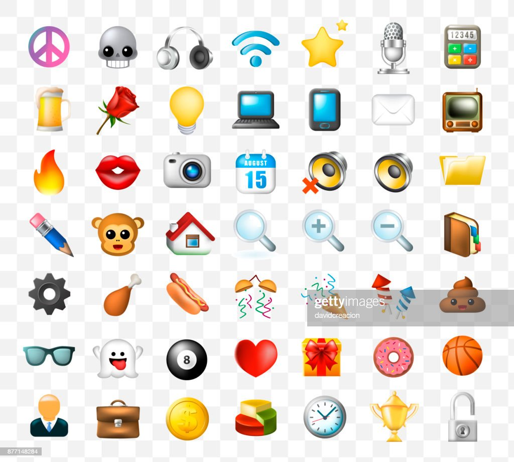 Set of Realistic Cute Elegant Multimedia and Interface Icons on Transparent Background