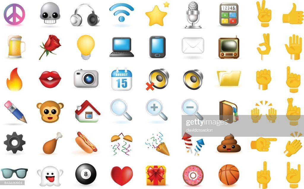 Set of Realistic Cute Elegant Multimedia and Interface Icons on White Background