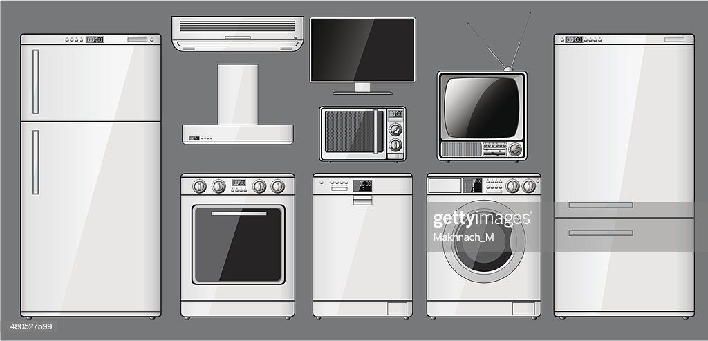 Set of realistic household appliances. : Vector Art