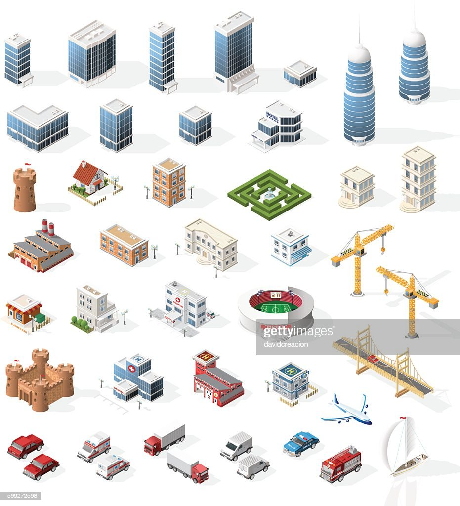 Set of Realistic Isometric High Quality City Element for Map.