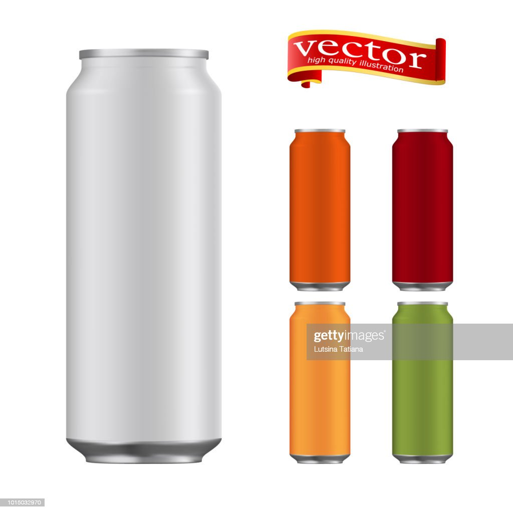Set of realistic metallic, aluminum red, green, orange, burgundy and blank cans 500 ml