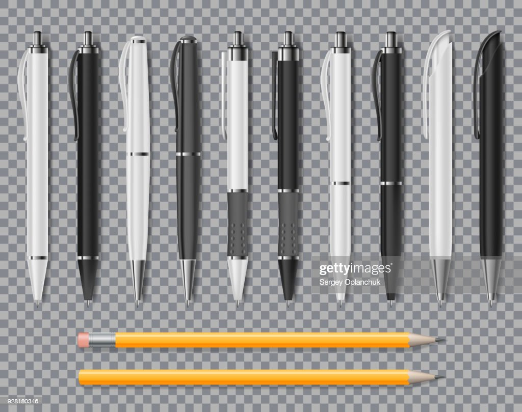 Set of Realistic office Elegant pens and pencil isolated on transparent background. Office Blank white and black Ball Pens. Vector illustration