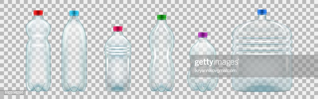 Set of realistic plastic bottles of various shapes and sizes