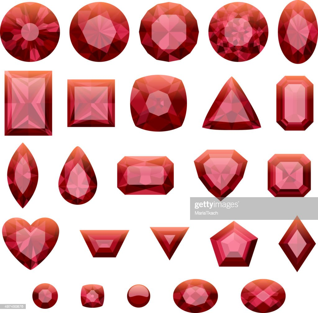 Set of realistic red jewels. Rubies isolated