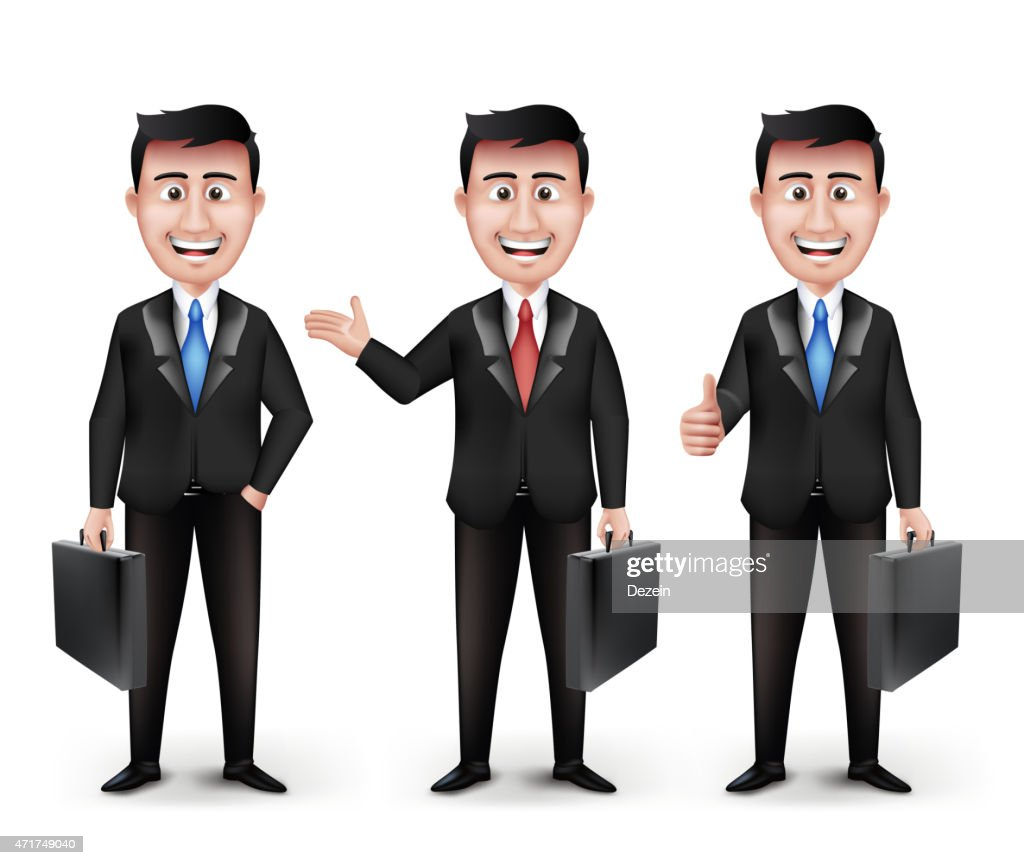Set of Realistic Smart Different Professional and Business Man Characters